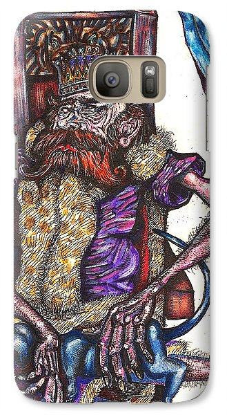 Galaxy Case featuring the drawing King Crabclaw And His Blue Dachshund by Al Goldfarb