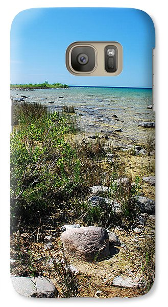 Galaxy Case featuring the photograph Lake Michigan Shoreline On A Sunny Afternoon by Janice Adomeit