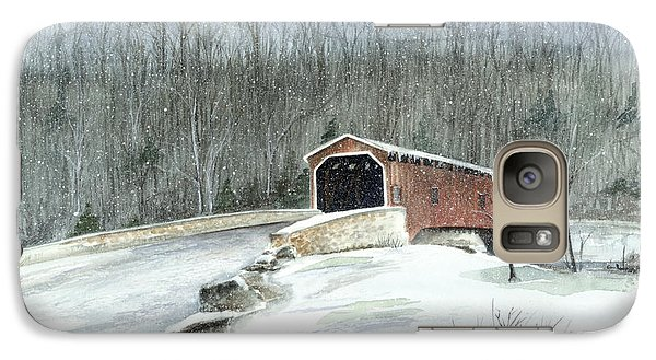 Galaxy Case featuring the painting Lancaster County Covered Bridge In The Snow  by Nancy Patterson