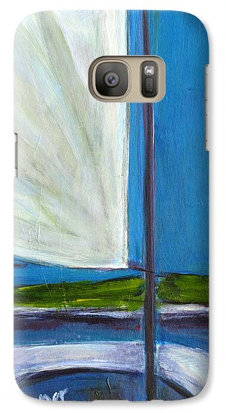 Galaxy Case featuring the  Land Ho With Sail And Sea And Sky by Betty Pieper