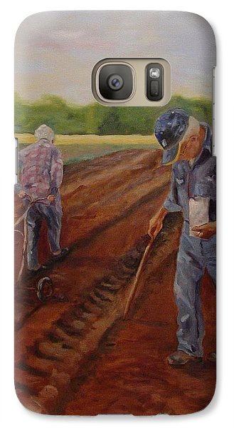 Galaxy Case featuring the painting Laying Off Rows by Carol Berning