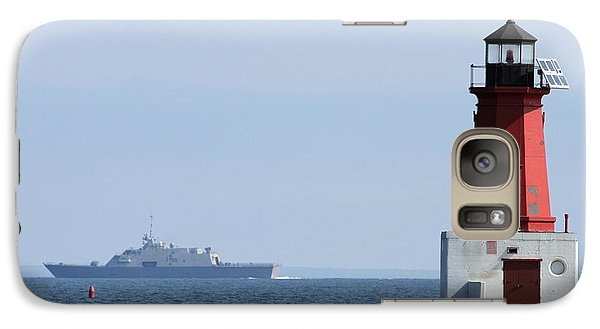 Galaxy Case featuring the photograph Lcs3 Uss Fort Worth By The Menominee Lighthouse by Mark J Seefeldt