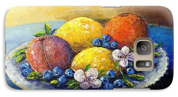 Galaxy Case featuring the painting Lemons And Blueberries by Lou Ann Bagnall