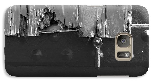 Galaxy Case featuring the photograph Lighthouse Shutter Black And White by Darleen Stry