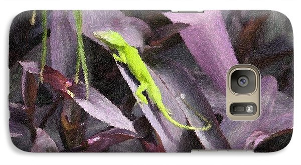 Galaxy Case featuring the photograph Little Green Lizard by Donna  Smith