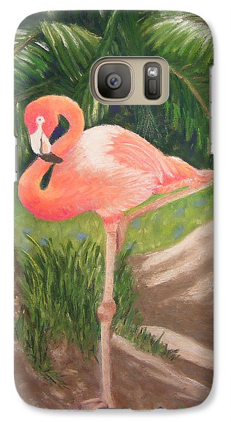 Galaxy Case featuring the pastel Lone Flamingo by Diane Ferguson