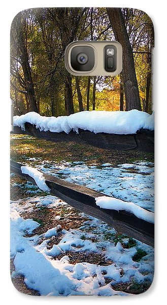 Galaxy Case featuring the photograph Long Snow Fence by Michelle Frizzell-Thompson