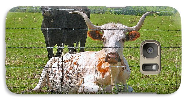 Galaxy Case featuring the photograph Longhorn Resting by Val Miller