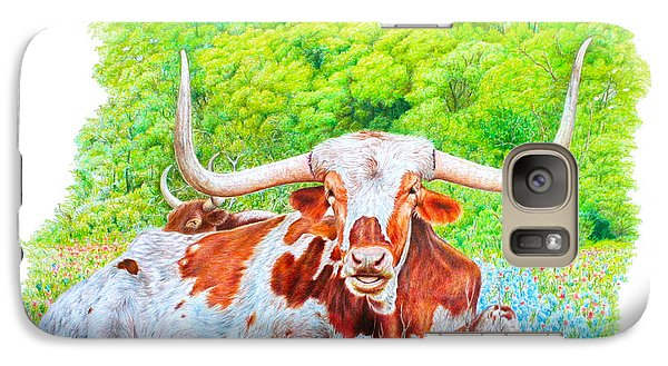 Galaxy Case featuring the drawing Longhorns In Bluebonnets by Mike Ivey