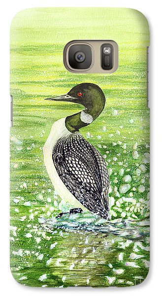 Galaxy Case featuring the painting Loon Art Judy Filarecki Watercolor by Judy Filarecki