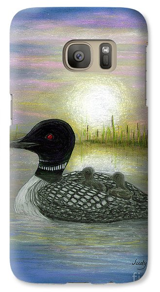 Galaxy Case featuring the painting Loon Babies On Mother's Back Judy Filarecki by Judy Filarecki