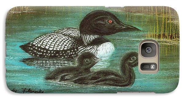Galaxy Case featuring the painting Loon Babies With Mother Judy Filarecki Pastel Painting by Judy Filarecki
