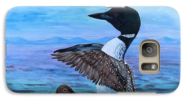 Galaxy Case featuring the painting Loon Mother And Baby by Judy Filarecki