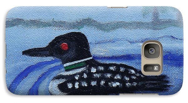 Galaxy Case featuring the painting Loon On Lake Winnipeaukee by Margaret Harmon