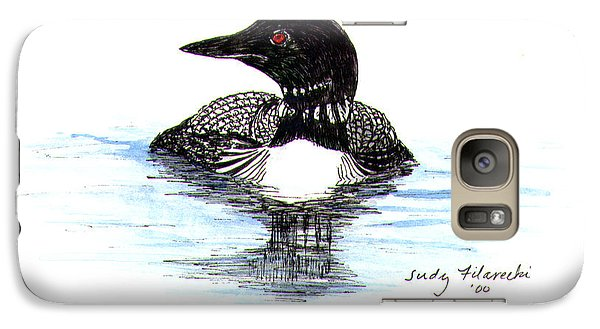 Galaxy Case featuring the painting Loon Swim Judy Filarecki Watercolor by Judy Filarecki
