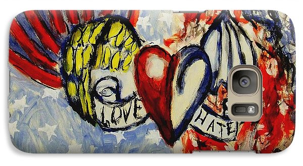 Galaxy Case featuring the painting Love And Hate Angel And Devil American Hearts And Flags With Wings And Stars by MendyZ M Zimmerman