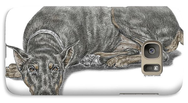 Galaxy Case featuring the drawing Lying Low - Doberman Pinscher Dog Print Color Tinted by Kelli Swan