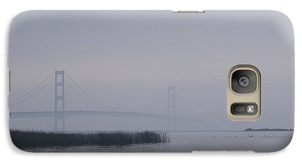 Galaxy Case featuring the photograph Mackinac Bridge And Swans by Randy Pollard