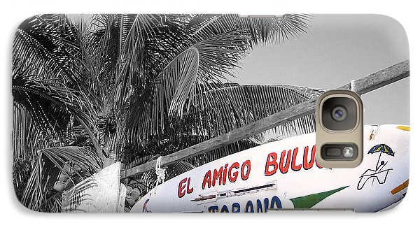 Galaxy Case featuring the photograph Mahahual Mexico Surfboard Sign Color Splash Black And White by Shawn O'Brien