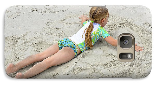 Galaxy Case featuring the photograph Making A Sand Angel by Maureen E Ritter