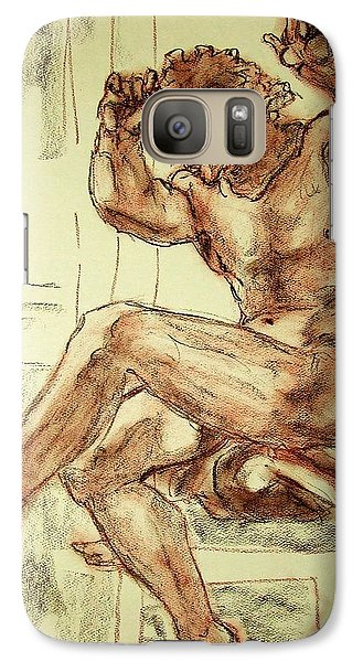 Galaxy Case featuring the drawing Male Nude Figure Drawing Sketch With Power Dynamics Struggle Angst Fear And Trepidation In Charcoal by MendyZ M Zimmerman