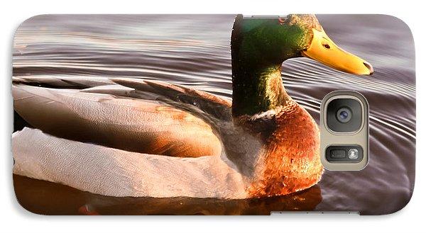 Galaxy Case featuring the photograph Mallard Duck At Sunset by Ann Murphy