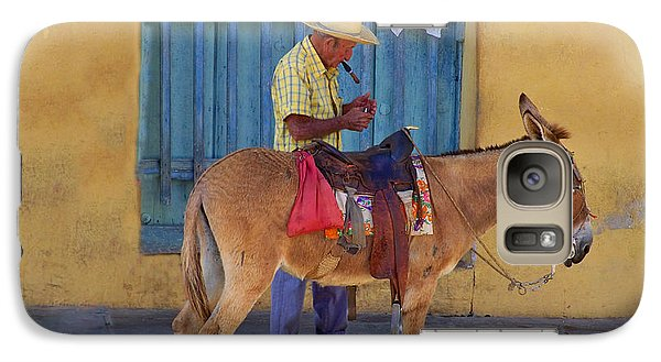 Galaxy Case featuring the photograph Man And A Donkey by Lynn Bolt