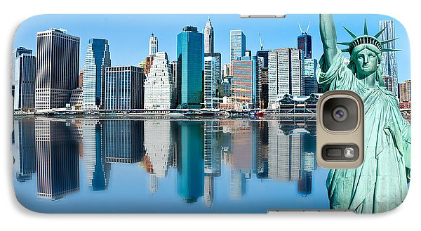 Galaxy Case featuring the photograph Manhattan Liberty by Luciano Mortula