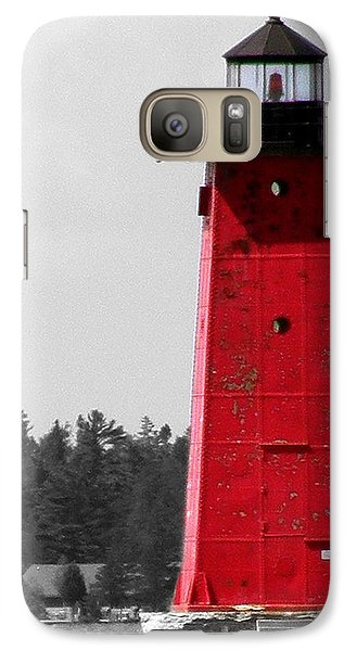Galaxy Case featuring the photograph Manistique East Breakwater Light With Selective Color by Mark J Seefeldt