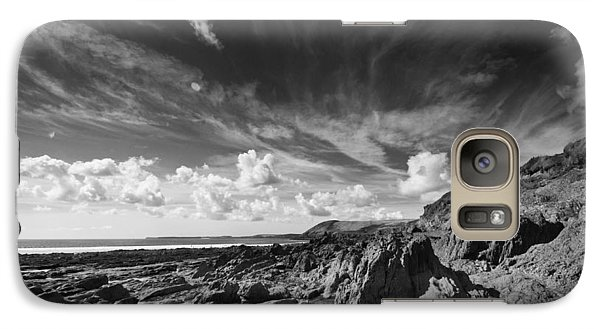 Galaxy Case featuring the photograph Manorbier Rocks by Steve Purnell