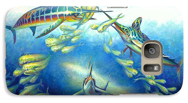 Galaxy Case featuring the painting Marlin Frenzy by Nancy Tilles