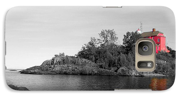 Galaxy Case featuring the photograph Marquette Harbor Lighthouse Selective Color by Mark J Seefeldt