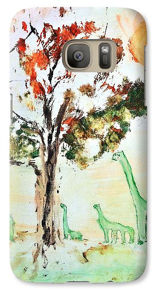 Galaxy Case featuring the painting Matei's Dinosaurs by Evelina Popilian