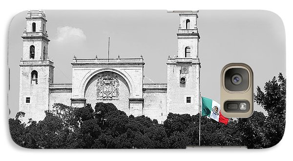Galaxy Case featuring the photograph Mexico Flag On Merida Cathedral San Ildefonso Town Square Color Splash Black And White by Shawn O'Brien