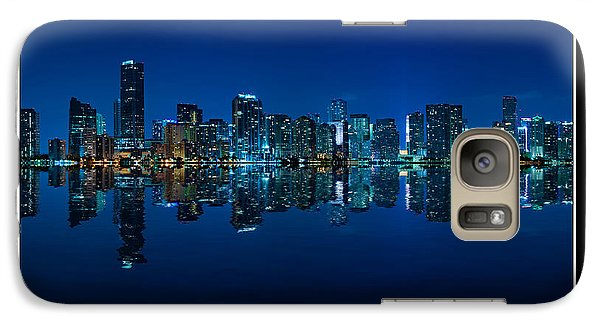 Galaxy Case featuring the photograph Miami Skyline Night Panorama by Carsten Reisinger