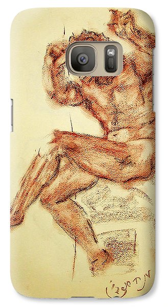 Galaxy Case featuring the drawing Michelangelo Sketch In Terra Cotta Chalk Drawing On Textured Paper Of Nude Male Sistine Chapel by MendyZ M Zimmerman