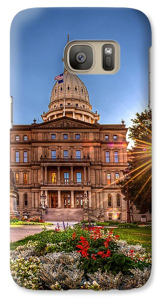 Galaxy Case featuring the photograph Michigan Capitol - Hdr - 2 by Larry Carr