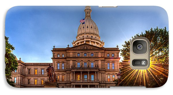 Galaxy Case featuring the photograph Michigan Capitol - Hdr-1 by Larry Carr