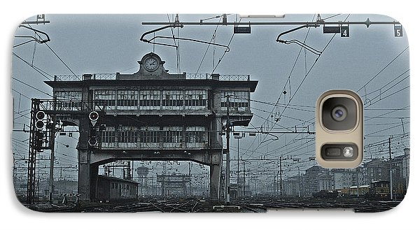 Galaxy Case featuring the photograph Milan Central Station Italy In The Fog by Andy Prendy