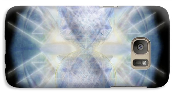 Galaxy Case featuring the digital art Mirror Emergence II Blue N Teal by Christopher Pringer