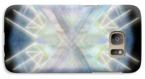 Galaxy Case featuring the digital art Mirror Emergence IIi Blue Green Teal by Christopher Pringer