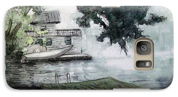 Galaxy Case featuring the painting Misty Dock At Lake Rabun by Gretchen Allen
