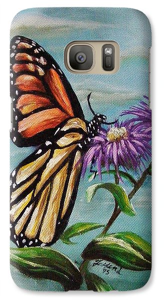 Galaxy Case featuring the painting Monarch And Aster by Karen  Ferrand Carroll