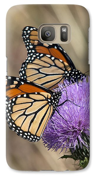 Galaxy Case featuring the photograph Monarch Butterflies On Field Thistle Din162 by Gerry Gantt