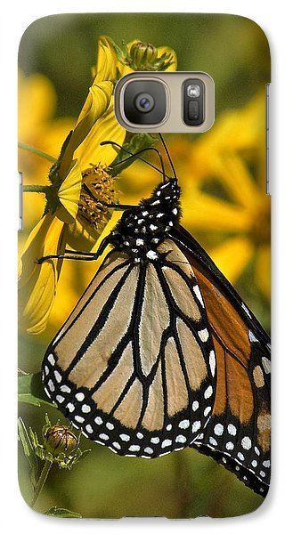 Galaxy Case featuring the photograph Monarch Butterfly On Tickseed Sunflower Din146 by Gerry Gantt