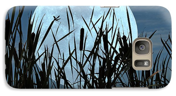 Galaxy Case featuring the photograph Moon And Marsh by Deborah Smith