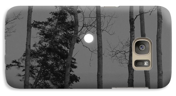 Galaxy Case featuring the photograph Moon Birches Black And White by Francine Frank