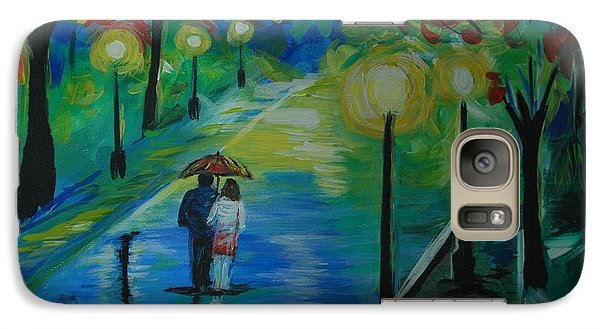 Galaxy Case featuring the painting Moonlight Stroll Series 1 by Leslie Allen