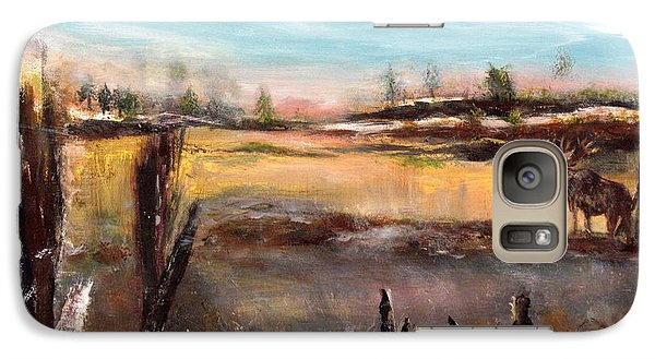 Galaxy Case featuring the painting Moose Landscape by France Laliberte