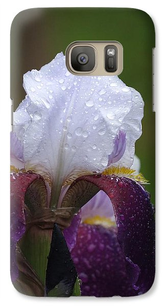 Galaxy Case featuring the photograph Morning Dew Iris by Rebecca Overton